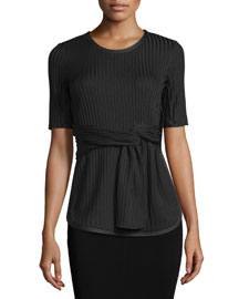 Short-Sleeve Ribbed Tie-Front Tee, Black