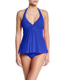 Lattice Wrapped A-Line Tankini Swim Top, Women's