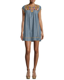 Ariadne Embroidered Shift Dress, Dark Chambray