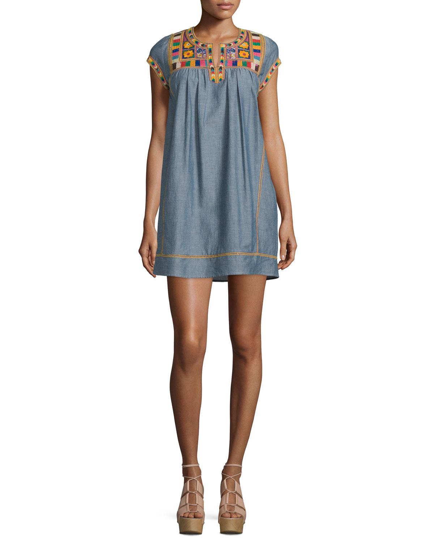 Calypso St. Barth Ariadne Embroidered Shift Dress, Dark Chambray, Size: XS, Light Blue (Dark Chambray Cc)