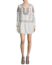 Cantoral Floral-Embroidered Dress, Candle White