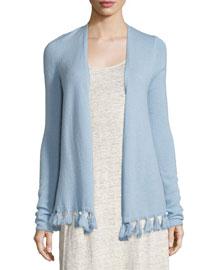 Shalona Fringe-Trim Cashmere Sweater, Light Blue