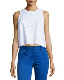Evie Sleeveless Cotton Honeycomb Top, White