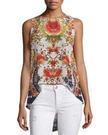 Sleeveless Embellished High-Low Top, La Rosa