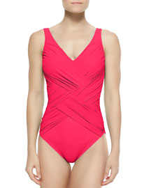 Lattice-Wrapped One-Piece Swimsuit, Rose, Women's