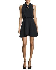 Enya Sleeveless Fit-&-Flare Dress, Black