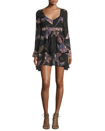 Lilou Long-Sleeve Printed Dress, Black/Multi
