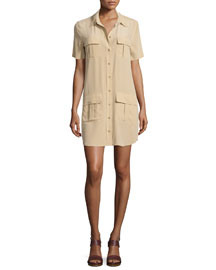 Remy Button-Front Utility Dress, Khaki