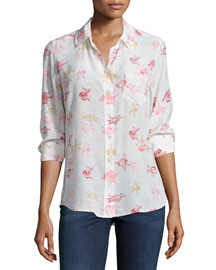 Brett Floral-Print Button-Front Top, Nature White/Multi