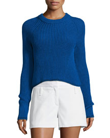 Beatrix Ribbed Cotton Sweater, Clematis Blue