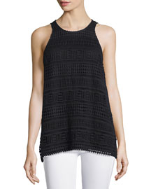 Embroidered-Lace Cotton Tank, Black