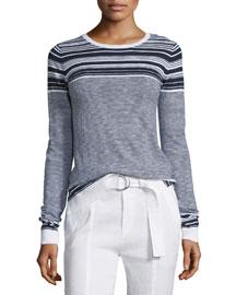 Multi-Striped Long-Sleeve Slub Sweater