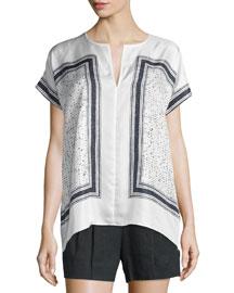 Scarf-Print Silk Popover Top, White/Black