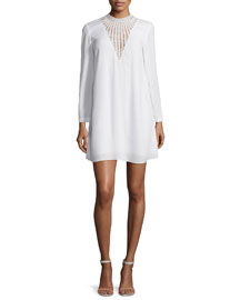Allie Long-Sleeve Crepe Shift Dress, White