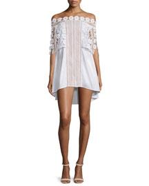 Serena Off-the-Shoulder Poplin Dress, White
