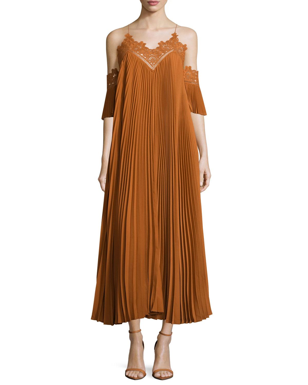 Self Portrait Pleated Chiffon Lace-Trim Midi Dress, , Size: 6 Brown (Camel)