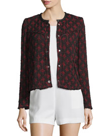 Handi Leather-Trim Tweed Jacket, Black/Red