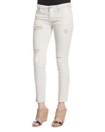 Jarod Distressed Cropped Skinny Jeans, Chalk