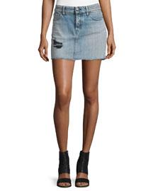 Chicago Stretch Denim Mini Skirt, Light Blue