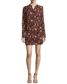 Sacha Long-Sleeve Floral Silk Dress, Henna/Black/Pink