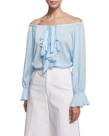 Off-the-Shoulder Ruffle-Front Top