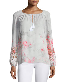 Mariella Long-Sleeve Lace-Inset Blouse, Neon Orchid