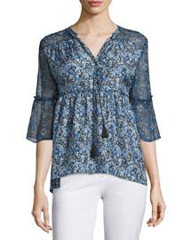 Dayna Half-Sleeve Floral-Print Blouse, Stargazer