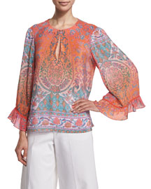 Flutter-Sleeve Printed Top
