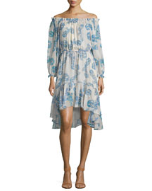 Camila Silk Off-the-Shoulder Butterfly Dress, Periwinkle