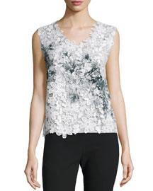 Leandra Sleeveless Floral-Cutout Blouse