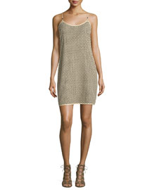 Alvera Sleeveless Lace Shift Dress, Light Gold