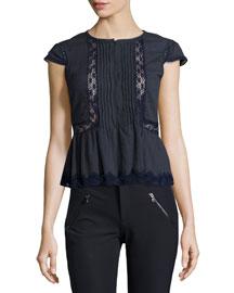 Short-Sleeve Lace-Trim Gauze Top, Navy