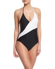 Newport Colorblock Halter One-Piece Swimsuit