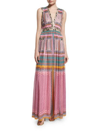 Lelani Silk Zen Scarf Maxi Dress, Multicolor