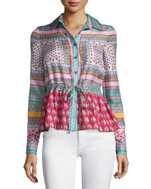 Ivanka Zen Scarf Silk Top, Multicolor