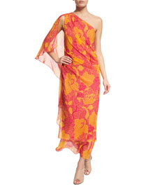 Nori Flower Power Silk Maxi Dress, Fuchsia