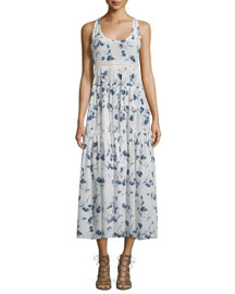 Sleeveless Tiered Meteor-Print Midi Dress, Indigo/Sea Salt