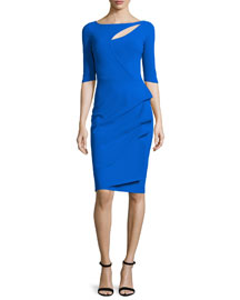 Joandra Half-Sleeve Yoke-Cutout Ruched Dress, Cobalt