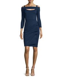 Nellie Long-Sleeve Off-the-Shoulder Ruched Dress, Blue Notte