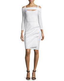 Nellie Long-Sleeve Off-the-Shoulder Ruched Dress, White