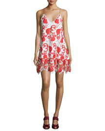 Clement Sleeveless Netted Mini Dress, Ruby