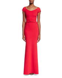 Renella Off-the-Shoulder V-Neck Mermaid Gown