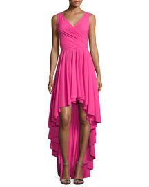 Sidney Sleeveless Ruffled High-Low Dress, Glossy Pink