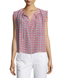 Sleeveless Floral Georgette Top, Tangerine Pink