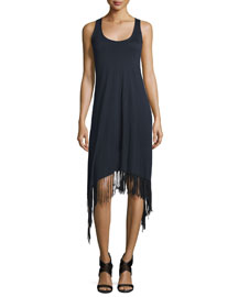Ibiza Sleeveless Fringe-Trim Dress, Black