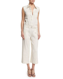 Linen-Blend Sleeveless Belted Utility Jumpsuit
