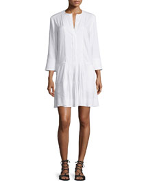 Pleated Drop-Waist Linen Dress