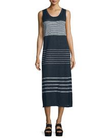 Multi-Striped Linen Tank Maxi Dress