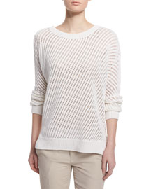 Mesh-Stitched Long-Sleeve Pullover Sweater