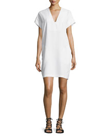 V-Neck Short-Sleeve Popover Shift Dress